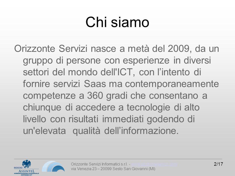Orizzonte Servizi Informatici s.r.l. - www.orizzonteservizi.comwww.orizzonteservizi.com via Venezia 23 – 20099 Sesto San Giovanni (MI) 2/17 Chi siamo