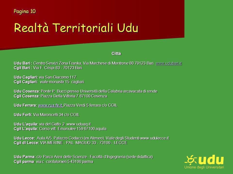 Pagina 10 Realtà Territoriali Udu Città Udu Bari : Centro Servizi Zona Franka, Via Marchese di Montrone 80 70123 Bari www.udubari.it www.udubari.it Cgil Bari : Via F.