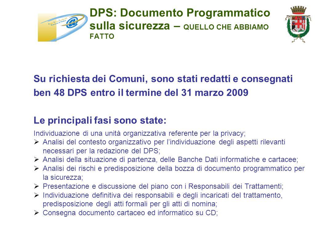 DPS: Documento Programmatico sulla sicurezza – QUELLO CHE ABBIAMO FATTO Su richiesta dei Comuni, sono stati redatti e consegnati ben 48 DPS entro il t