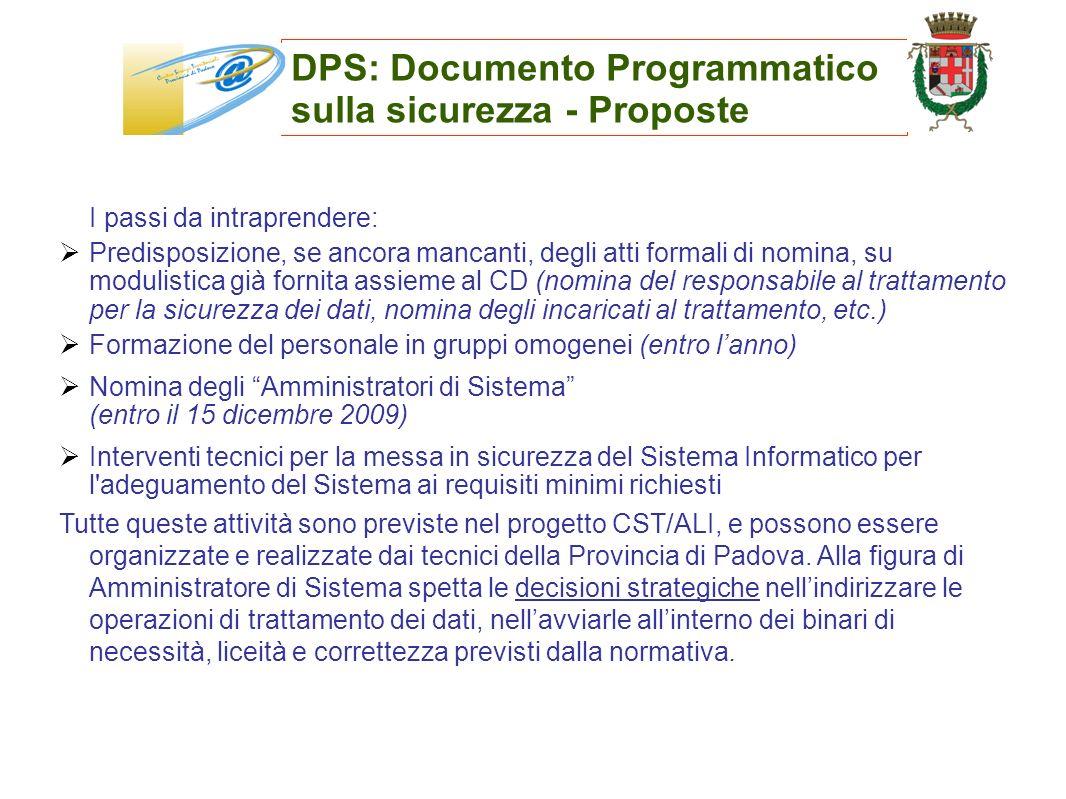 DPS: Documento Programmatico sulla sicurezza - Proposte I passi da intraprendere: Predisposizione, se ancora mancanti, degli atti formali di nomina, s