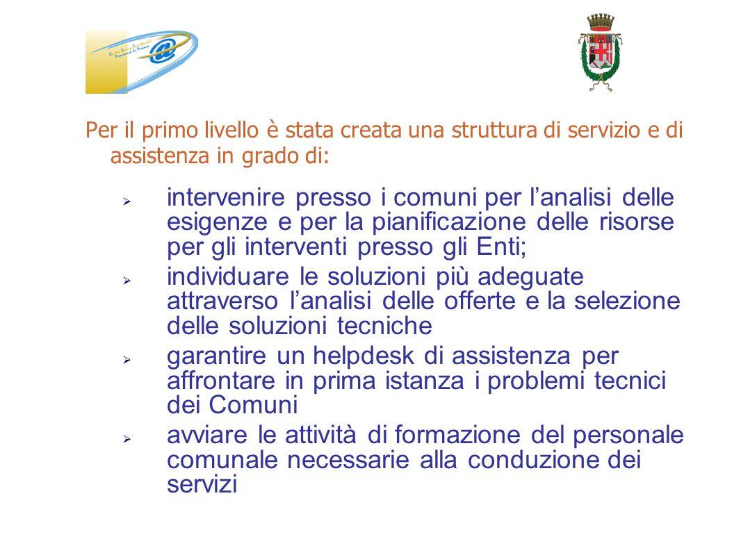 Per il primo livello è stata creata una struttura di servizio e di assistenza in grado di: intervenire presso i comuni per lanalisi delle esigenze e p