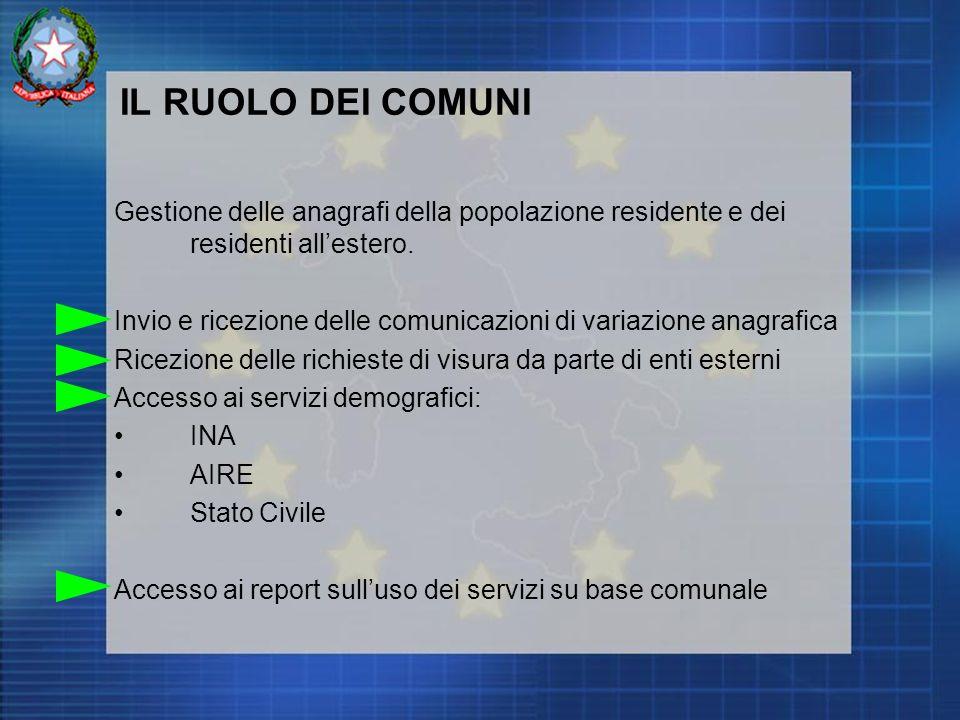 IL RUOLO DEI COMUNI Gestione delle anagrafi della popolazione residente e dei residenti allestero.