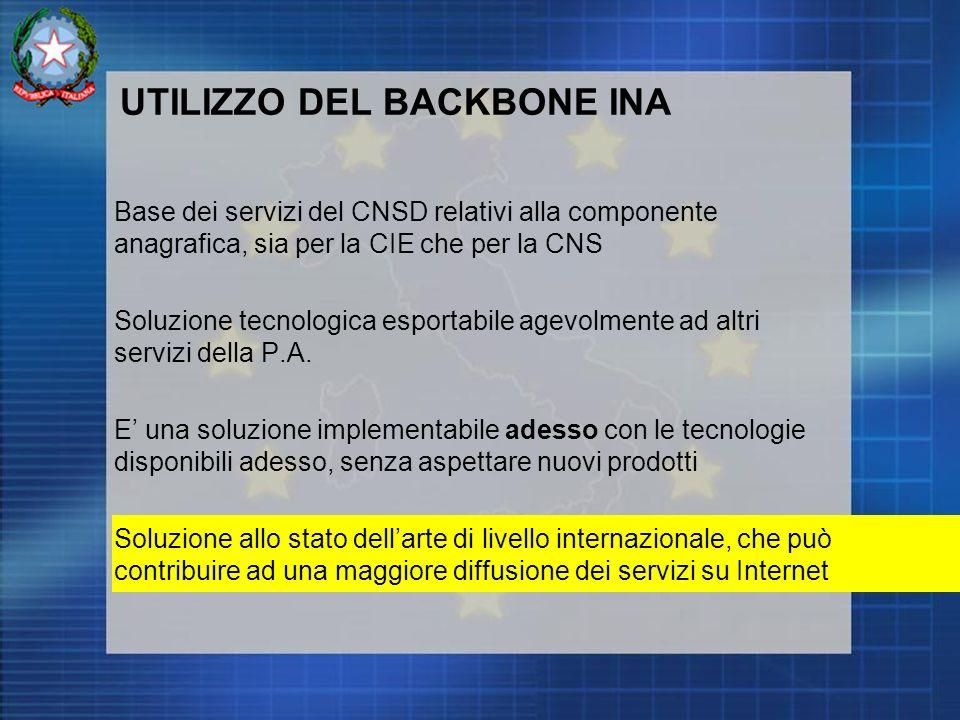 UTILIZZO DEL BACKBONE INA Base dei servizi del CNSD relativi alla componente anagrafica, sia per la CIE che per la CNS Soluzione tecnologica esportabile agevolmente ad altri servizi della P.A.