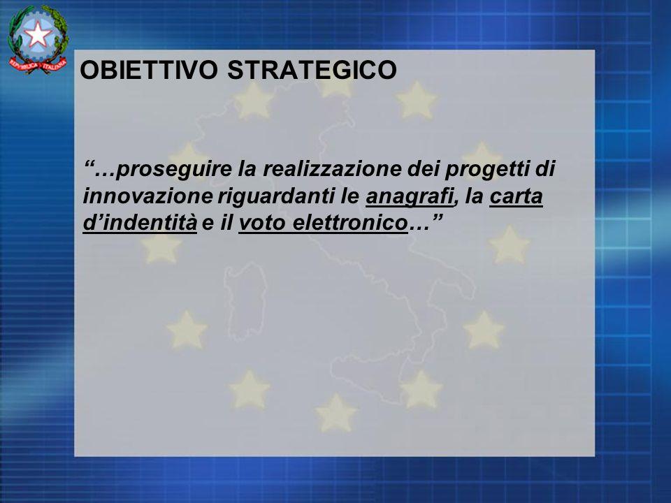 OBIETTIVO STRATEGICO …proseguire la realizzazione dei progetti di innovazione riguardanti le anagrafi, la carta dindentità e il voto elettronico…