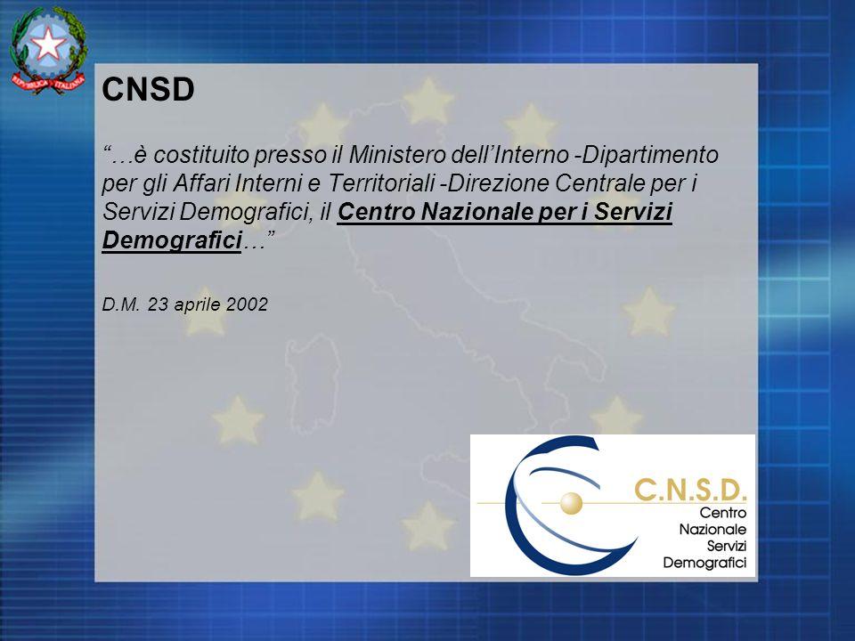 CNSD …è costituito presso il Ministero dellInterno -Dipartimento per gli Affari Interni e Territoriali -Direzione Centrale per i Servizi Demografici, il Centro Nazionale per i Servizi Demografici… D.M.