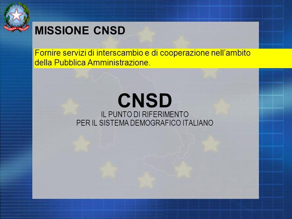 MISSIONE CNSD Fornire servizi di interscambio e di cooperazione nellambito della Pubblica Amministrazione.