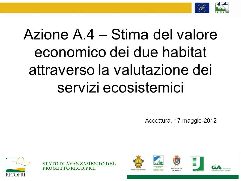 Azione A.4 – Stima del valore economico dei due habitat attraverso la valutazione dei servizi ecosistemici STATO DI AVANZAMENTO DEL PROGETTO RI.CO.PR.I.