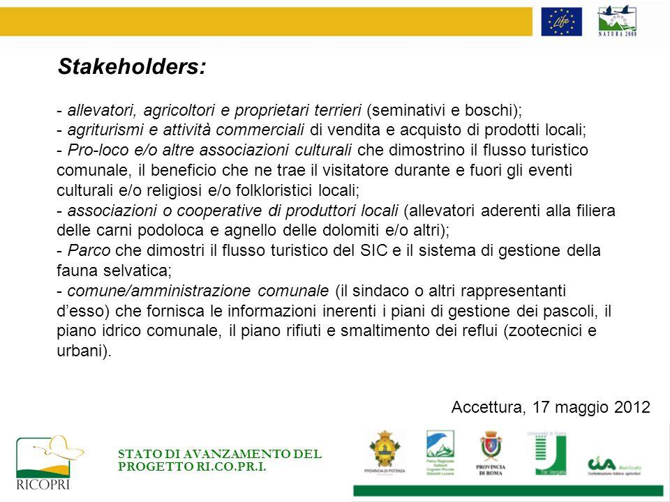 Risultati: Sono stati somministrati 90 questionari a parte degli stakeholder (5 allevatori e 85 turisti) identificati al fine di misurare quantitativamente e qualitativamente le dipendenze e gli impatti sullarea.