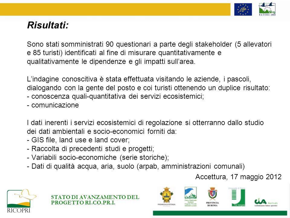STATO DI AVANZAMENTO DEL PROGETTO RI.CO.PR.I. Accettura, 17 maggio 2012