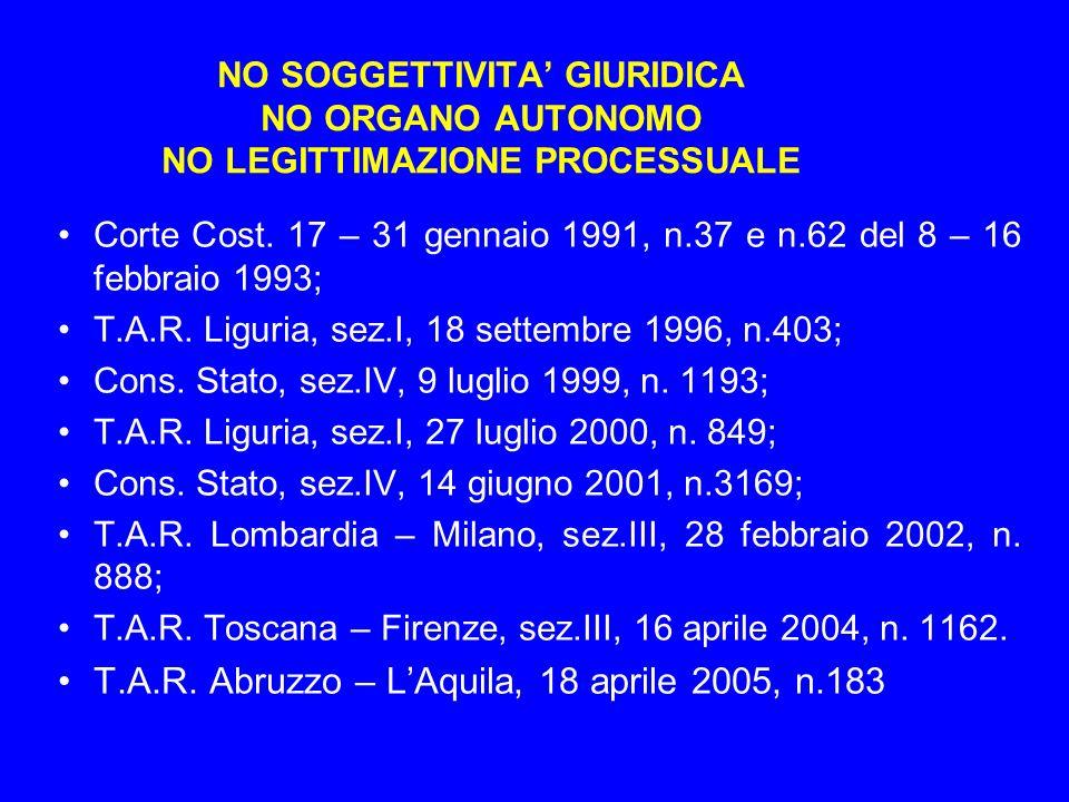 NO SOGGETTIVITA GIURIDICA NO ORGANO AUTONOMO NO LEGITTIMAZIONE PROCESSUALE Corte Cost. 17 – 31 gennaio 1991, n.37 e n.62 del 8 – 16 febbraio 1993; T.A