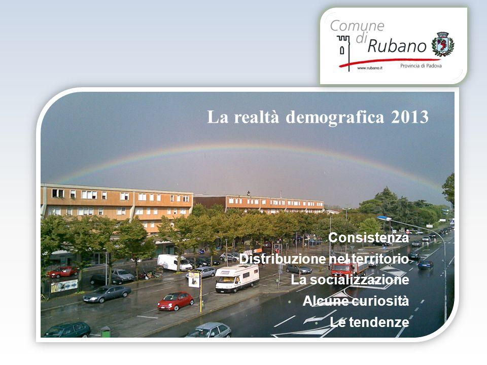 La realtà demografica 2013 Consistenza Distribuzione nel territorio La socializzazione Alcune curiosità Le tendenze