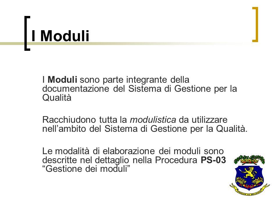 I Moduli I Moduli sono parte integrante della documentazione del Sistema di Gestione per la Qualità Racchiudono tutta la modulistica da utilizzare nel