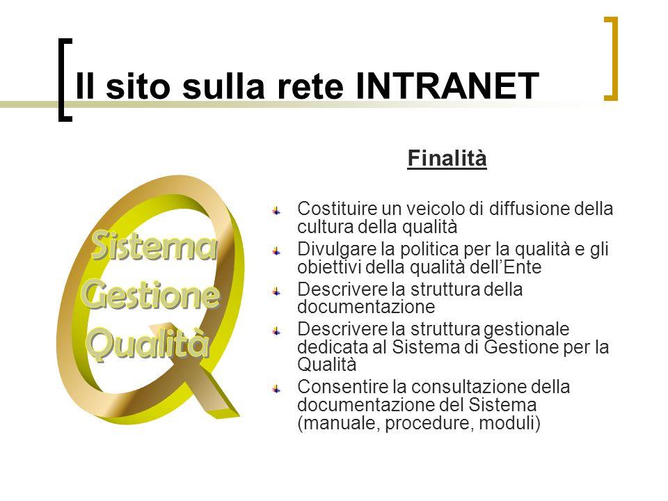 Il sito sulla rete INTRANET Finalità Costituire un veicolo di diffusione della cultura della qualità Divulgare la politica per la qualità e gli obiett