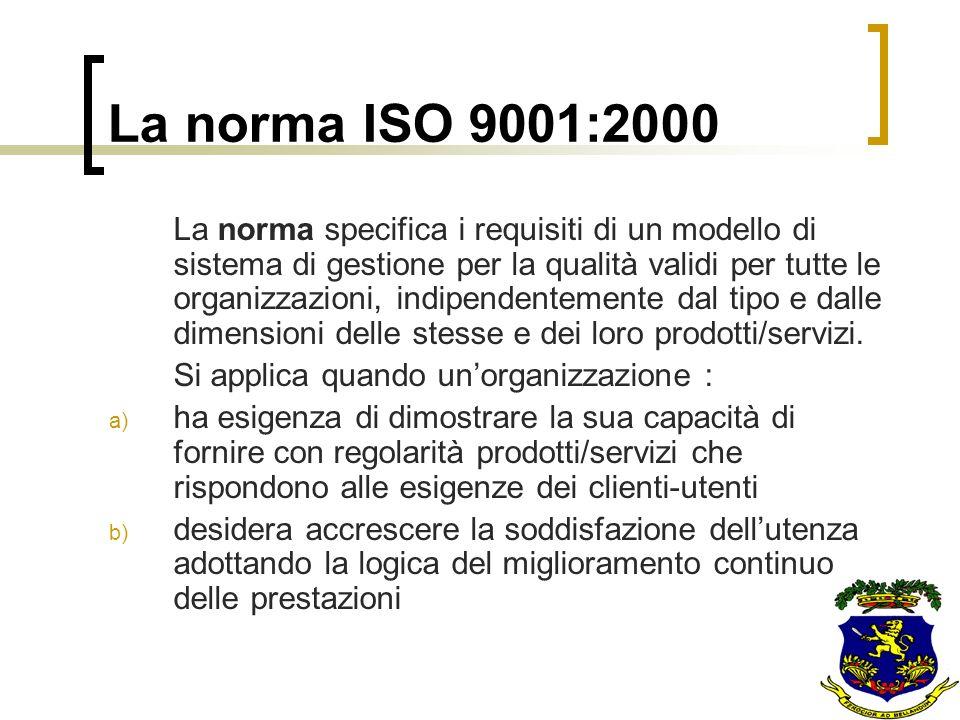 La norma ISO 9001:2000 La norma specifica i requisiti di un modello di sistema di gestione per la qualità validi per tutte le organizzazioni, indipend