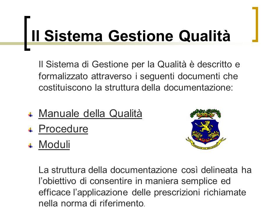 Il Sistema Gestione Qualità Il Sistema di Gestione per la Qualità è descritto e formalizzato attraverso i seguenti documenti che costituiscono la stru