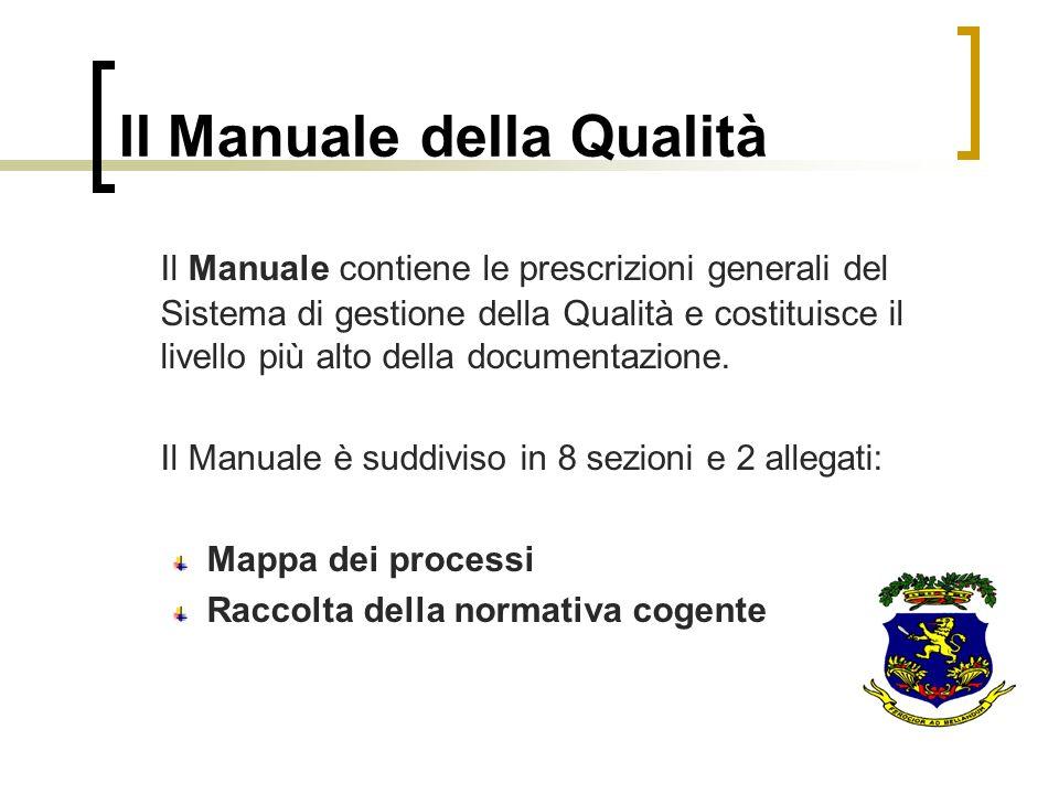 Il Manuale della Qualità Il Manuale contiene le prescrizioni generali del Sistema di gestione della Qualità e costituisce il livello più alto della do