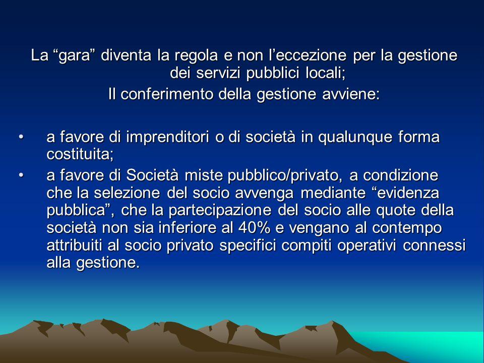La gara diventa la regola e non leccezione per la gestione dei servizi pubblici locali; Il conferimento della gestione avviene: a favore di imprendito