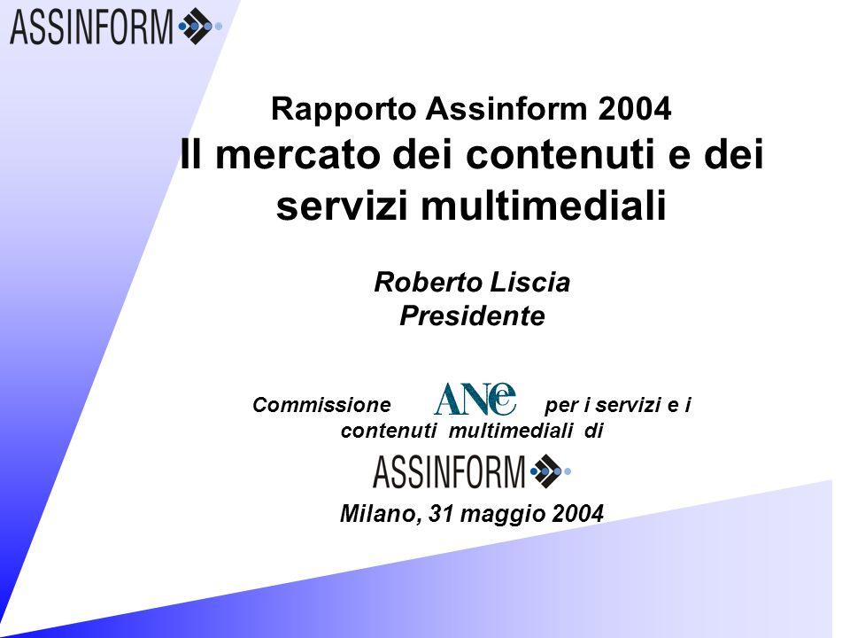 Rapporto Assinform 2004 Il mercato dei contenuti e dei servizi multimediali Roberto Liscia Presidente Commissione per i servizi e i contenuti multimediali di Milano, 31 maggio 2004