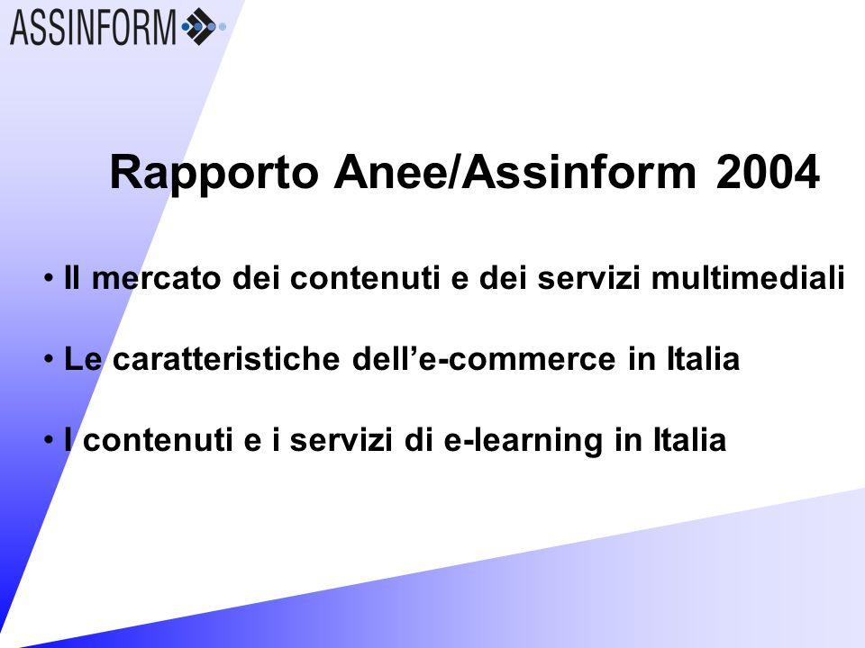 Rapporto Anee/Assinform 2004 Il mercato dei contenuti e dei servizi multimediali Le caratteristiche delle-commerce in Italia I contenuti e i servizi di e-learning in Italia