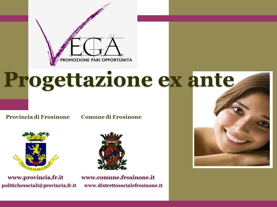 Provincia di Frosinone www.provincia.fr.it politichesociali@provincia.fr.it Progettazione ex ante Comune di Frosinone www.comune.frosinone.it www.distrettosocialefrosinone.it
