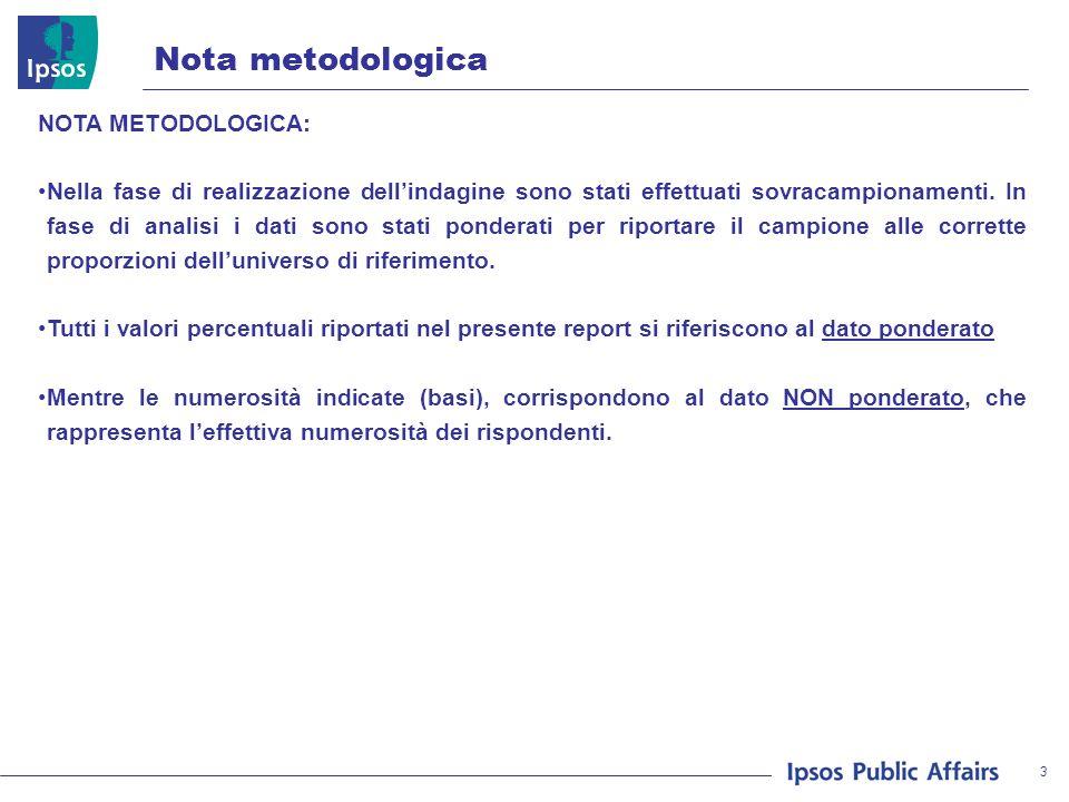 3 METODOLOGIA Nota metodologica NOTA METODOLOGICA: Nella fase di realizzazione dellindagine sono stati effettuati sovracampionamenti.