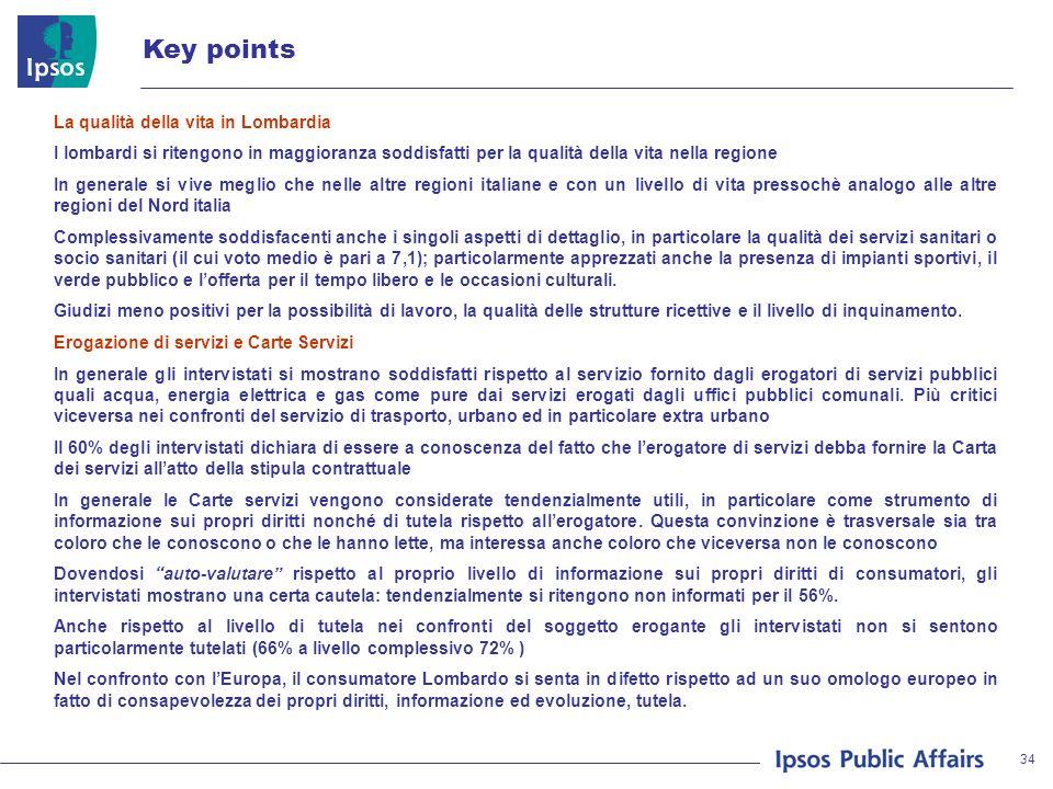 34 Key points La qualità della vita in Lombardia I lombardi si ritengono in maggioranza soddisfatti per la qualità della vita nella regione In generale si vive meglio che nelle altre regioni italiane e con un livello di vita pressochè analogo alle altre regioni del Nord italia Complessivamente soddisfacenti anche i singoli aspetti di dettaglio, in particolare la qualità dei servizi sanitari o socio sanitari (il cui voto medio è pari a 7,1); particolarmente apprezzati anche la presenza di impianti sportivi, il verde pubblico e lofferta per il tempo libero e le occasioni culturali.