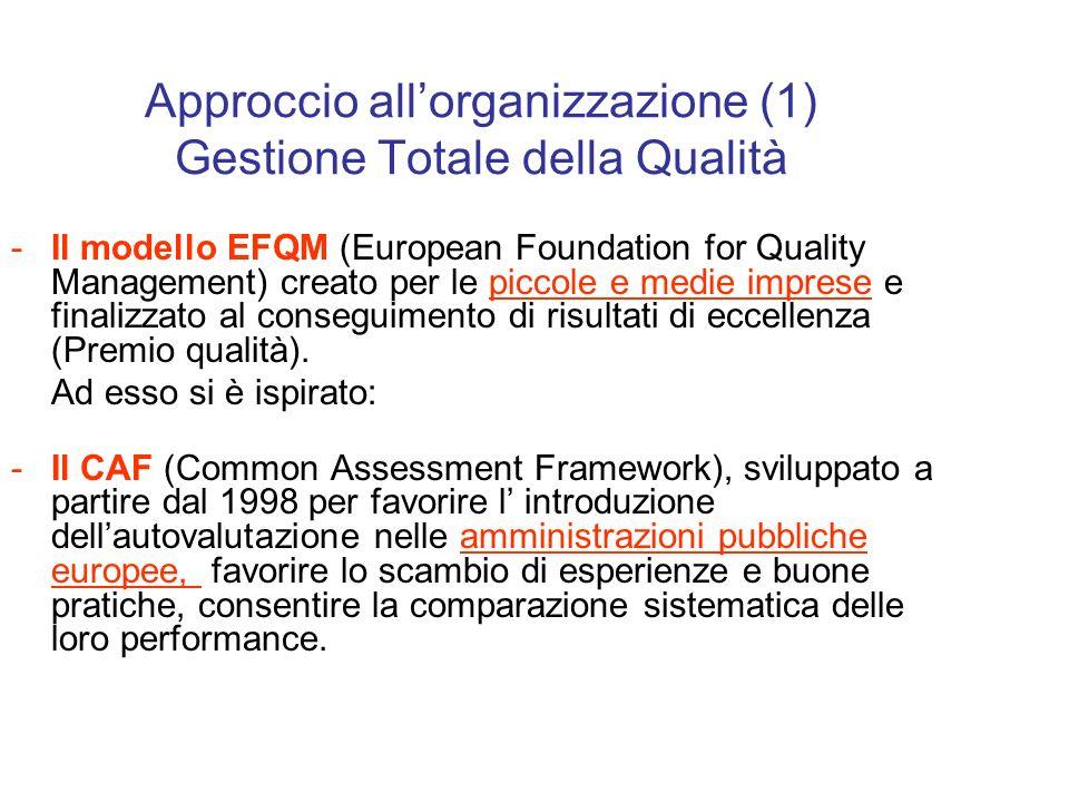 Approccio allorganizzazione (1) Gestione Totale della Qualità -Il modello EFQM (European Foundation for Quality Management) creato per le piccole e medie imprese e finalizzato al conseguimento di risultati di eccellenza (Premio qualità).