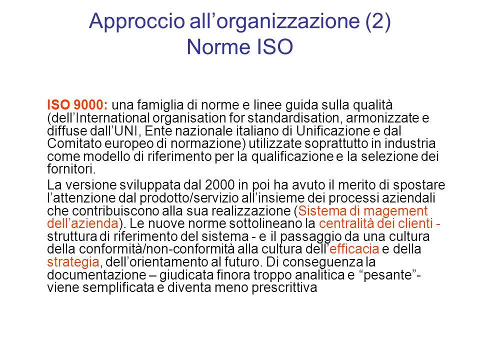 Approccio allorganizzazione (2) Norme ISO ISO 9000: una famiglia di norme e linee guida sulla qualità (dellInternational organisation for standardisation, armonizzate e diffuse dallUNI, Ente nazionale italiano di Unificazione e dal Comitato europeo di normazione) utilizzate soprattutto in industria come modello di riferimento per la qualificazione e la selezione dei fornitori.