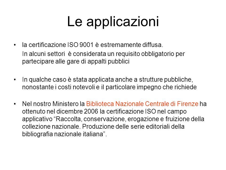 Le applicazioni la certificazione ISO 9001 è estremamente diffusa.