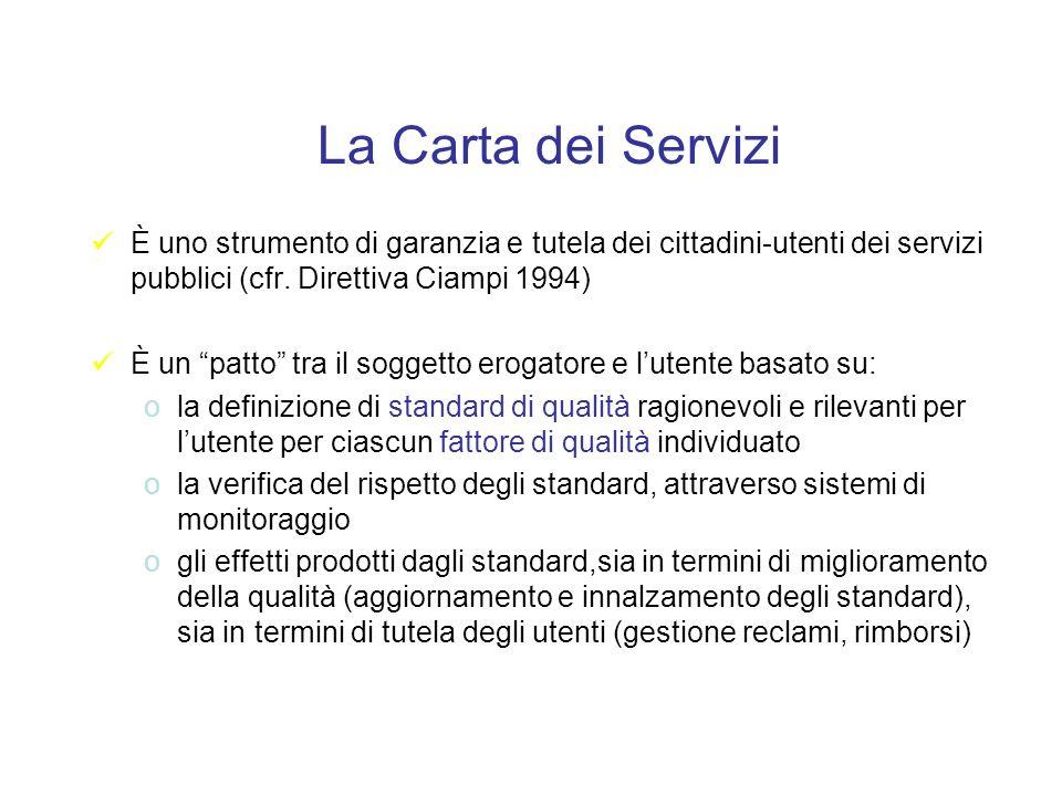 La Carta dei Servizi È uno strumento di garanzia e tutela dei cittadini-utenti dei servizi pubblici (cfr.
