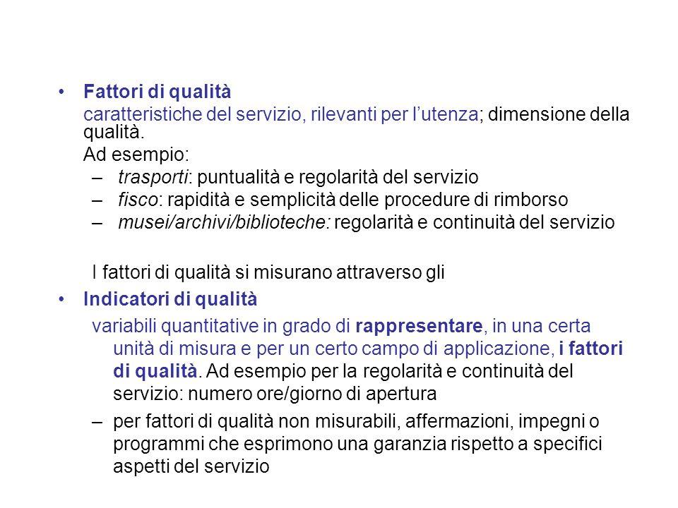 Fattori di qualità caratteristiche del servizio, rilevanti per lutenza; dimensione della qualità.