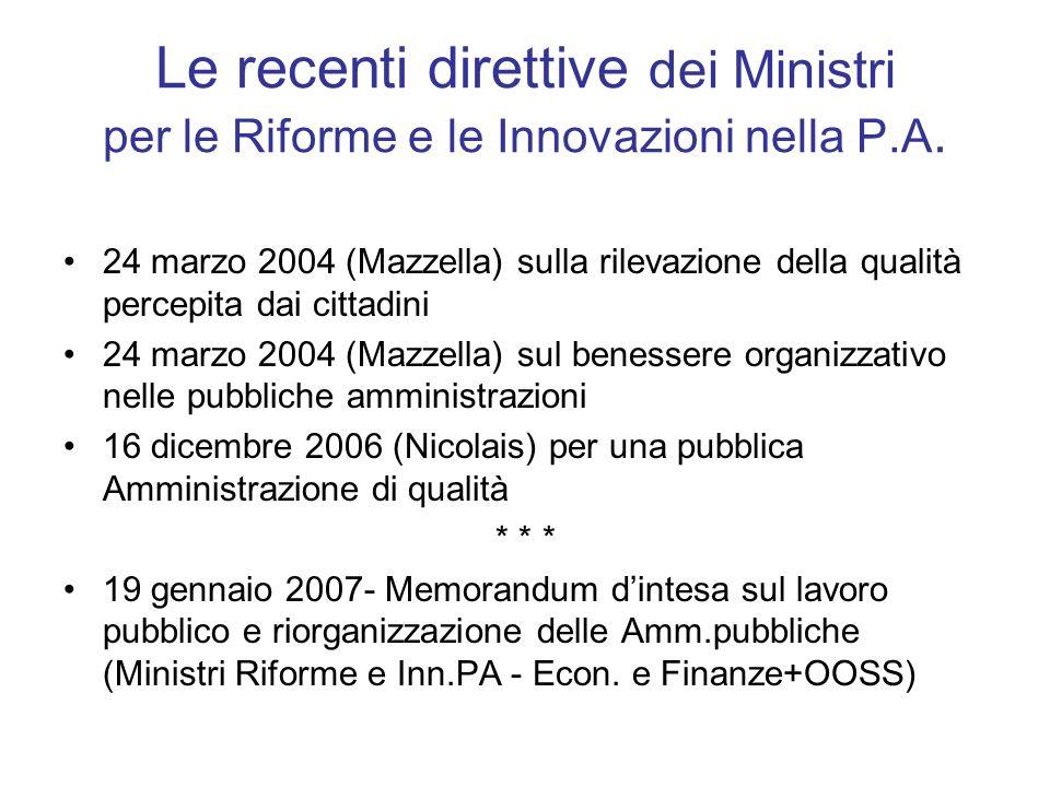 Le recenti direttive dei Ministri per le Riforme e le Innovazioni nella P.A.