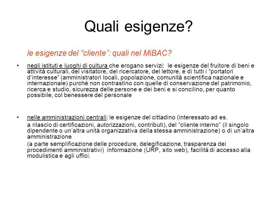 Quali esigenze.le esigenze del cliente: quali nel MiBAC.