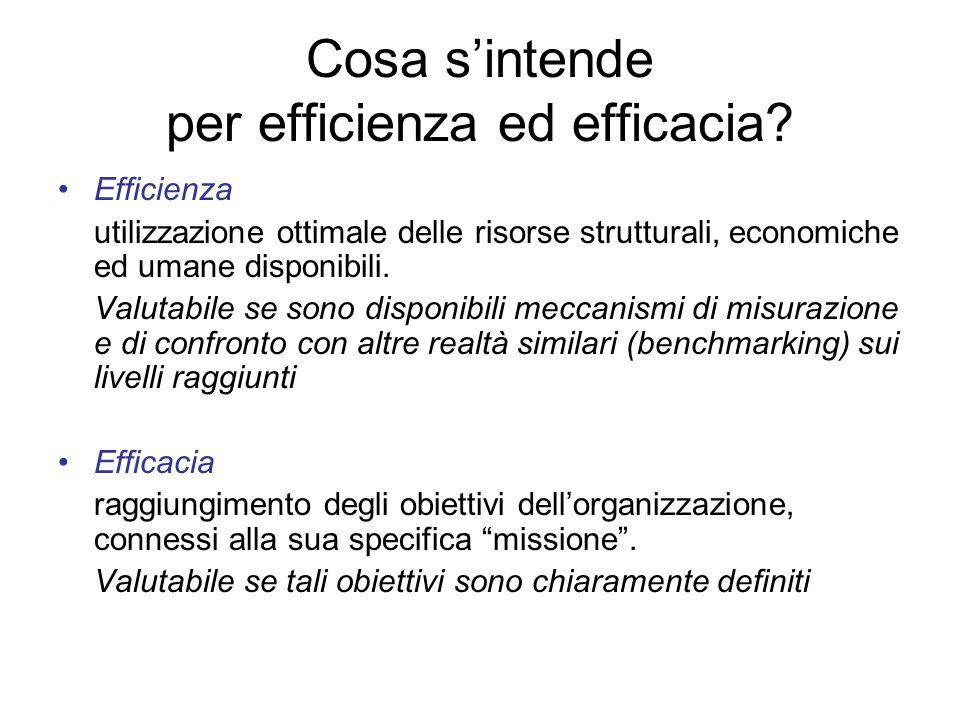 Cosa sintende per efficienza ed efficacia.