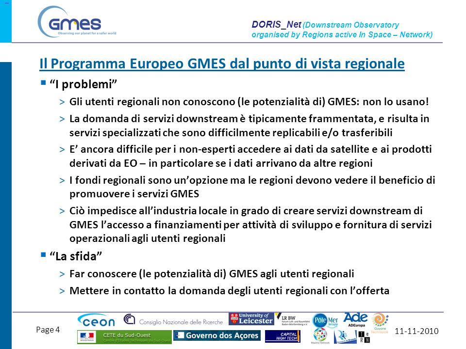 11-11-2010 Page 5 DORIS_Net (Downstream Observatory organised by Regions active In Space – Network) >Impatti sul fronte dellofferta >[…] Ci si aspetta che i Progetti accrescano la conoscenza, strutturazione e consapevolezza nel settore downstream di GMES a livello regionale.