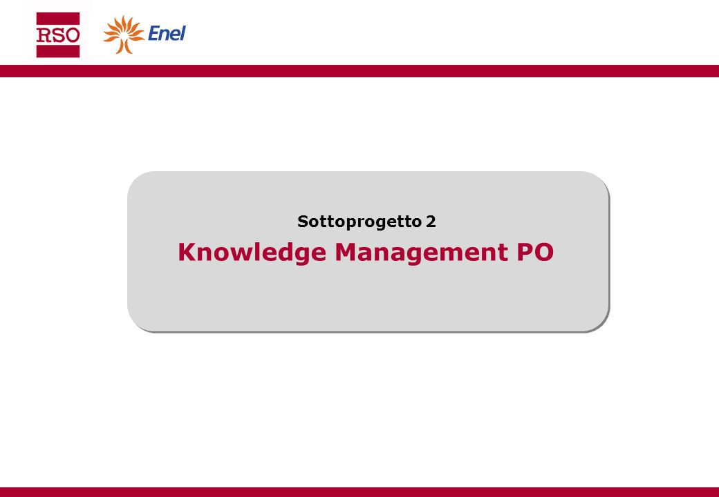 Knowledge Management PO Sottoprogetto 2