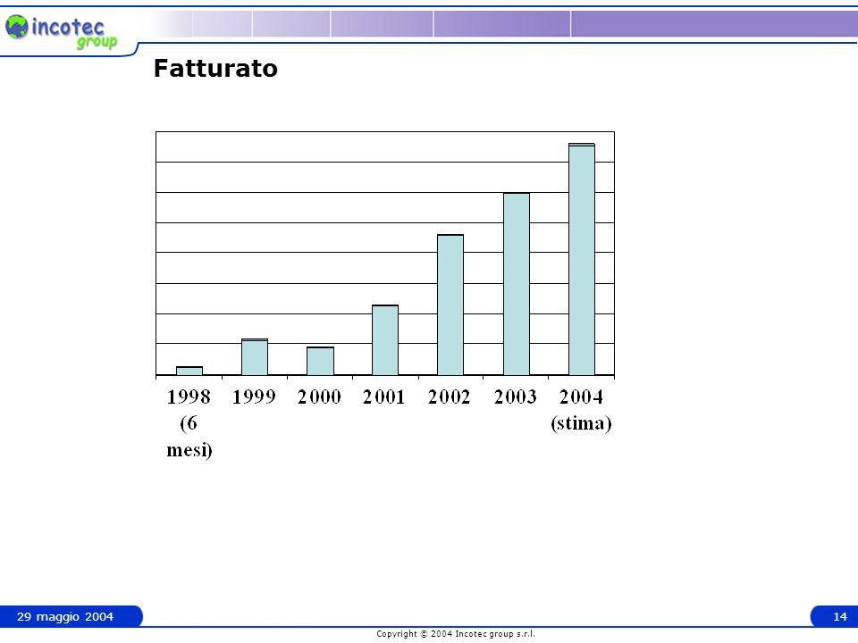 Copyright © 2004 Incotec group s.r.l. 29 maggio 200414 Fatturato
