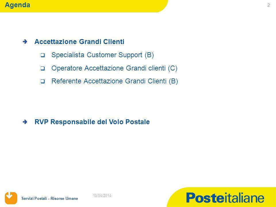 19/04/2014 Servizi Postali - Risorse Umane 2 19/04/2014 Agenda Accettazione Grandi Clienti Specialista Customer Support (B) Operatore Accettazione Grandi clienti (C) Referente Accettazione Grandi Clienti (B) RVP Responsabile del Volo Postale