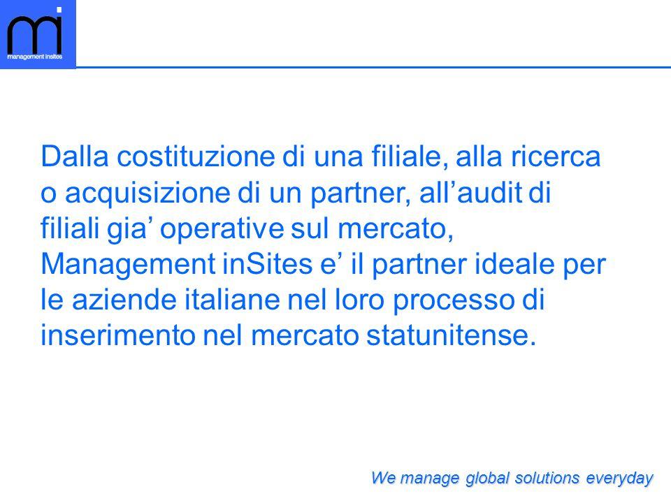 Dalla costituzione di una filiale, alla ricerca o acquisizione di un partner, allaudit di filiali gia operative sul mercato, Management inSites e il partner ideale per le aziende italiane nel loro processo di inserimento nel mercato statunitense.