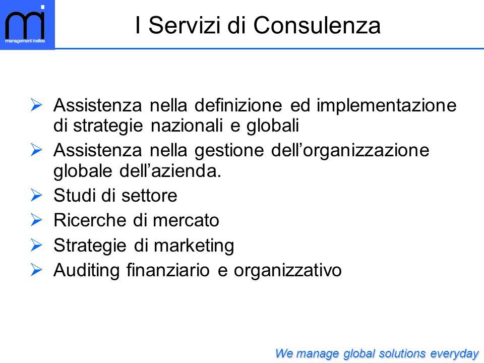 Assistenza nella definizione ed implementazione di strategie nazionali e globali Assistenza nella gestione dellorganizzazione globale dellazienda.