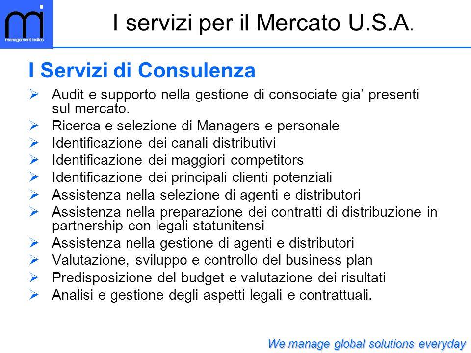 Audit e supporto nella gestione di consociate gia presenti sul mercato.