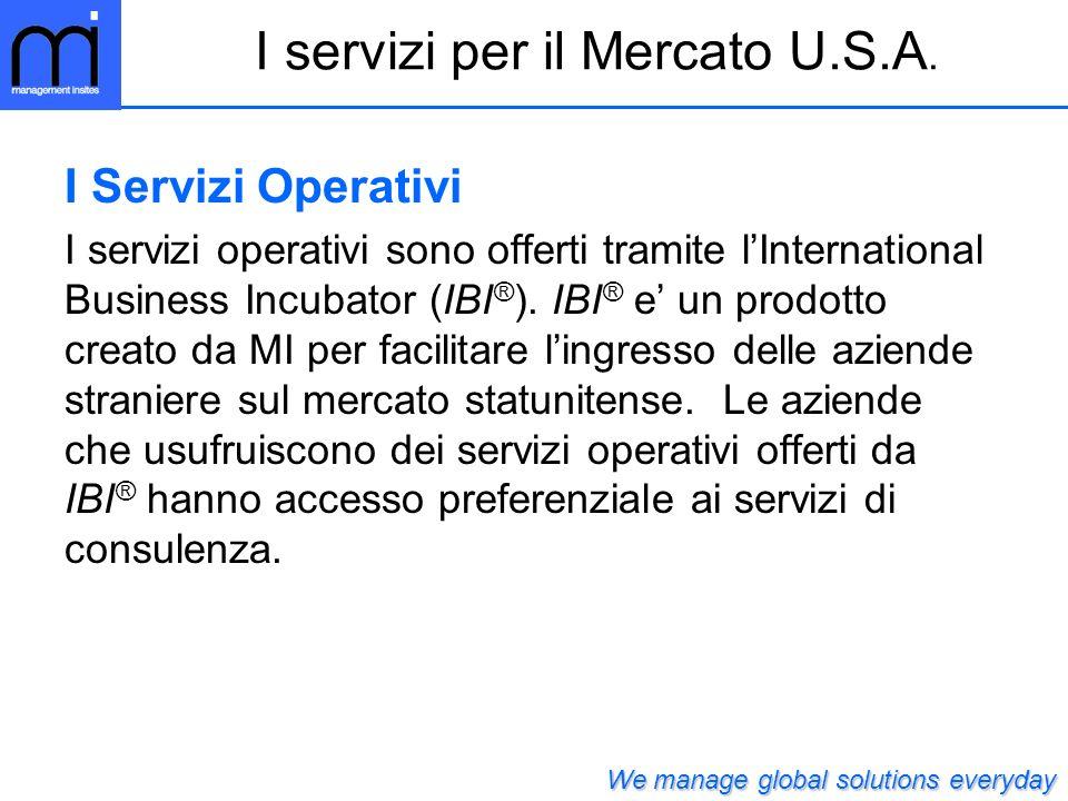I Servizi Operativi I servizi operativi sono offerti tramite lInternational Business Incubator (IBI ® ). IBI ® e un prodotto creato da MI per facilita