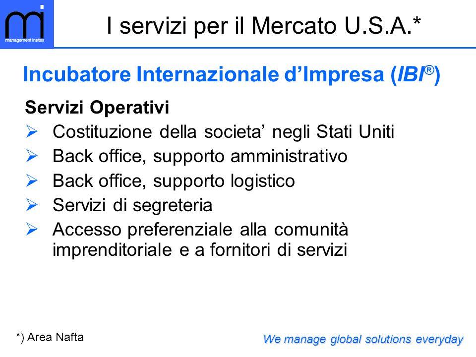 Servizi Operativi Costituzione della societa negli Stati Uniti Back office, supporto amministrativo Back office, supporto logistico Servizi di segrete
