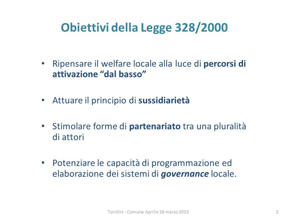 Turchini - Comune Aprilia 26 marzo 2013 Obiettivi della Legge 328/2000 Ripensare il welfare locale alla luce di percorsi di attivazione dal basso Attuare il principio di sussidiarietà Stimolare forme di partenariato tra una pluralità di attori Potenziare le capacità di programmazione ed elaborazione dei sistemi di governance locale.