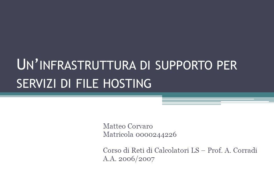 U N INFRASTRUTTURA DI SUPPORTO PER SERVIZI DI FILE HOSTING Matteo Corvaro Matricola 0000244226 Corso di Reti di Calcolatori LS – Prof.
