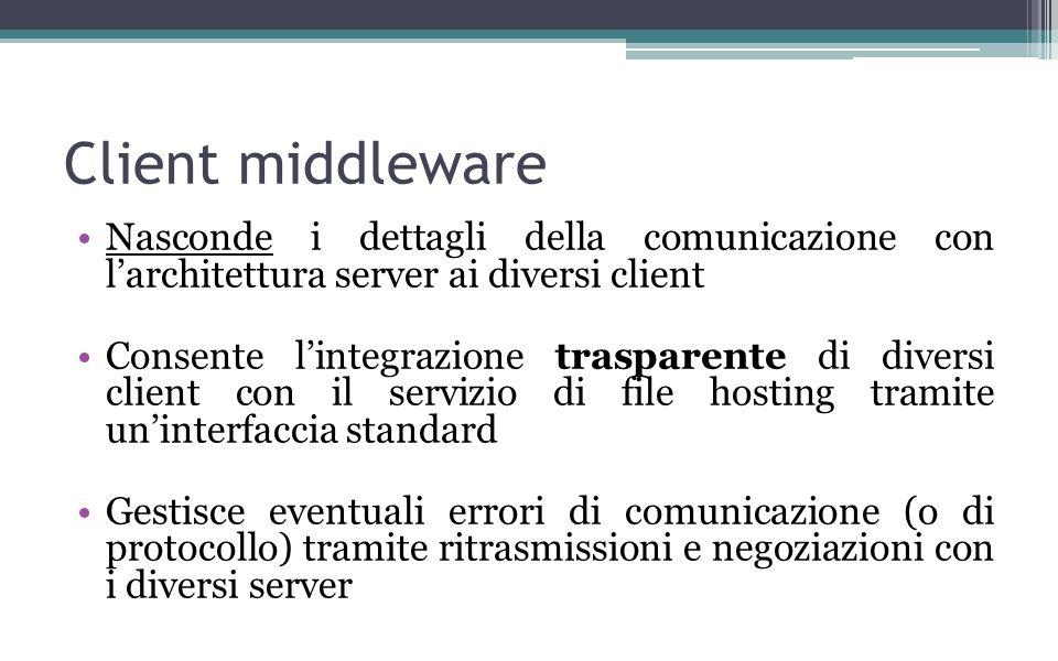 Client middleware Nasconde i dettagli della comunicazione con larchitettura server ai diversi client Consente lintegrazione trasparente di diversi client con il servizio di file hosting tramite uninterfaccia standard Gestisce eventuali errori di comunicazione (o di protocollo) tramite ritrasmissioni e negoziazioni con i diversi server