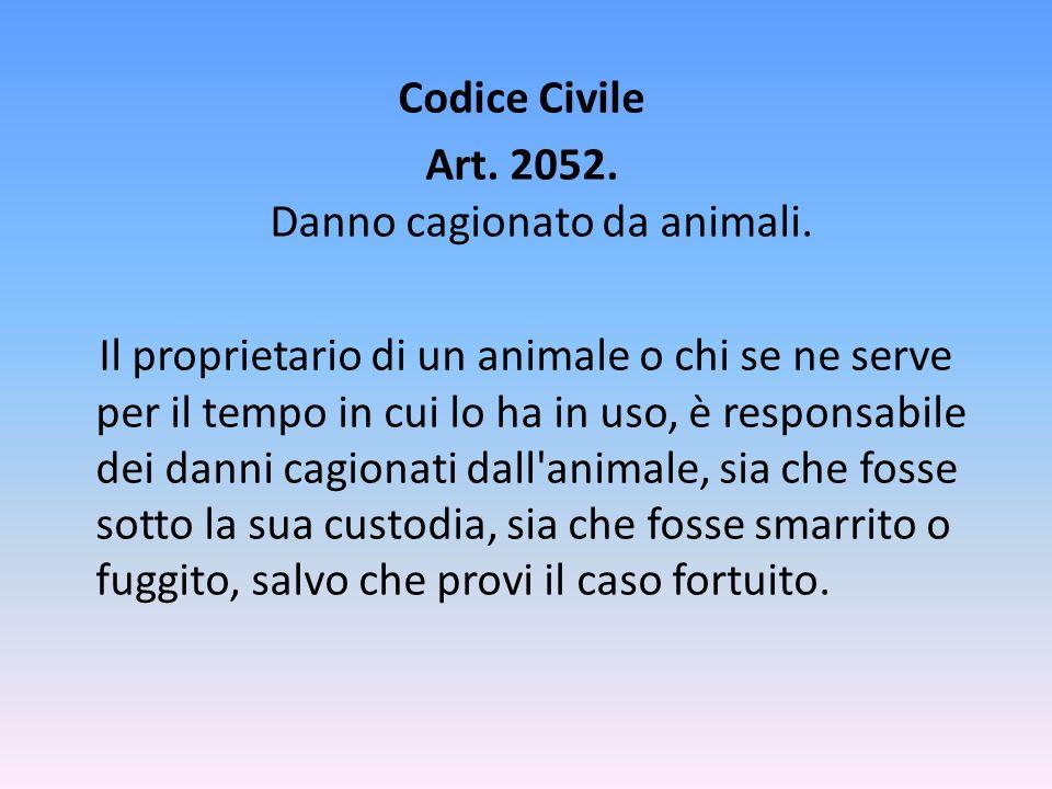 Codice Civile Art.2052. Danno cagionato da animali.