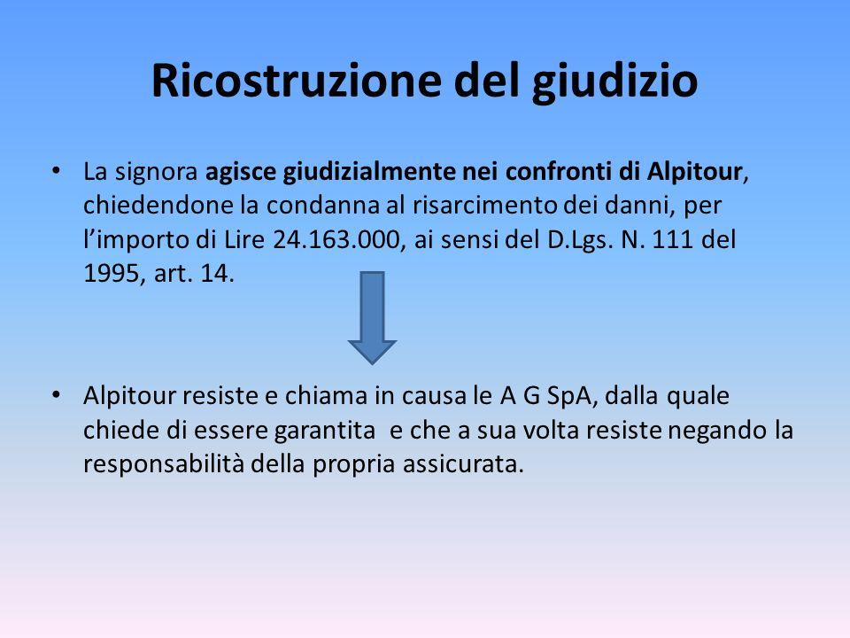 Ricostruzione del giudizio La signora agisce giudizialmente nei confronti di Alpitour, chiedendone la condanna al risarcimento dei danni, per limporto di Lire 24.163.000, ai sensi del D.Lgs.