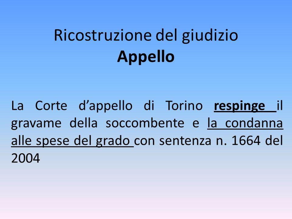 Ricostruzione del giudizio Appello La Corte dappello di Torino respinge il gravame della soccombente e la condanna alle spese del grado con sentenza n.