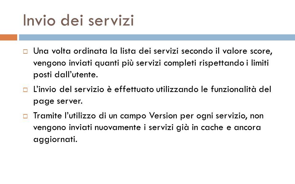 Invio dei servizi Una volta ordinata la lista dei servizi secondo il valore score, vengono inviati quanti più servizi completi rispettando i limiti posti dallutente.